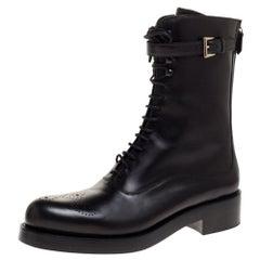 Prada Black Leather Combat Boots Size 38