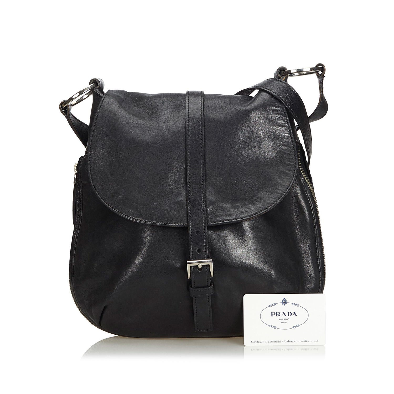 4d61861cb5fa Prada Black Leather Crossbody Bag Italy w/ Authenticity Card at 1stdibs