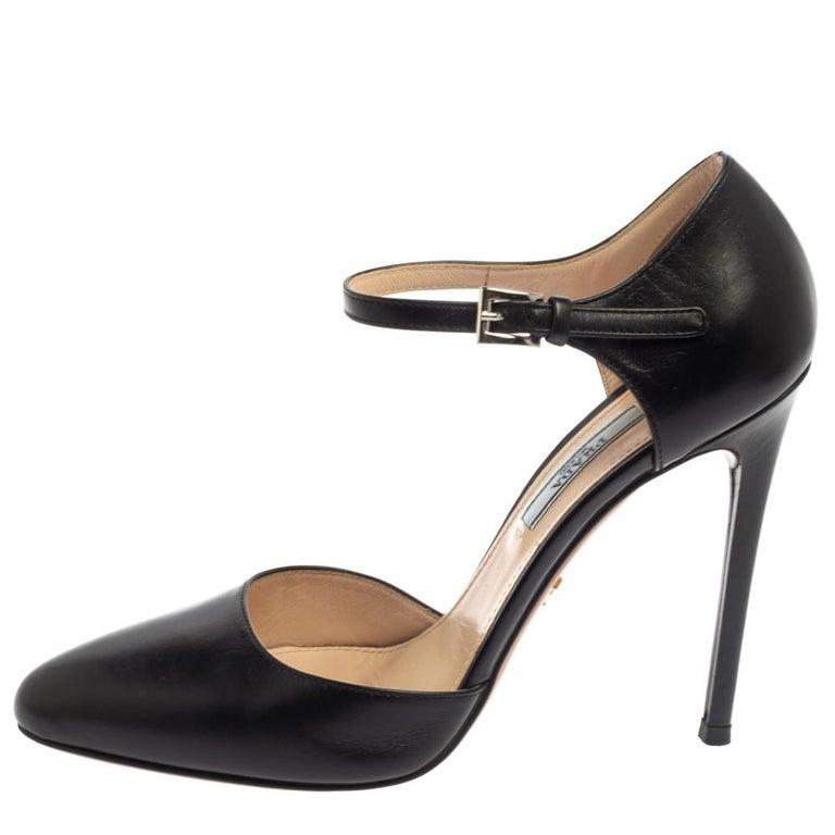 Prada Black Leather D'orsay Ankle Strap Pumps Size 37.5 For Sale 1