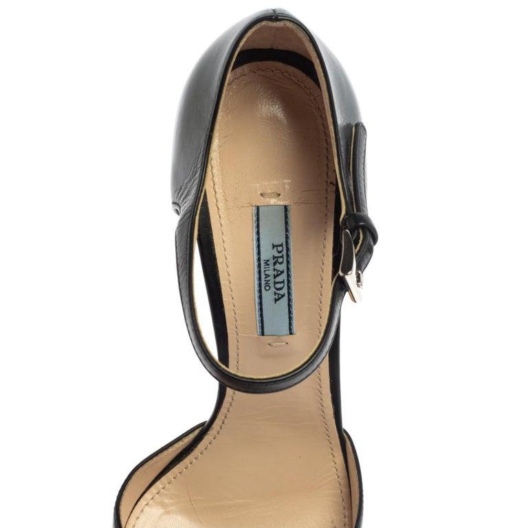 Prada Black Leather D'orsay Ankle Strap Pumps Size 37.5 For Sale 3