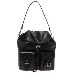 Prada Black Leather Double Pocket Shoulder Bag