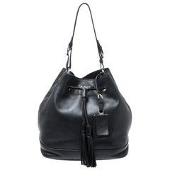Prada Black Leather Drawstring Bucket Bag
