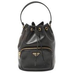 Prada Black Leather Duet Bucket Shoulder Bag