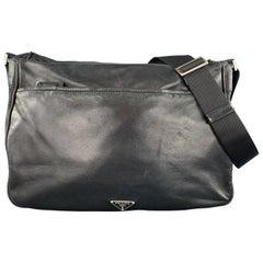 PRADA Black Leather Enamel Logo Crossbody Messenger Bag