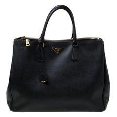 Prada Black Leather Executive Double Zip Tote