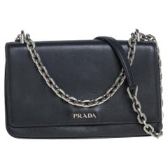 Prada Black Leather Flap Chain Shoulder Bag