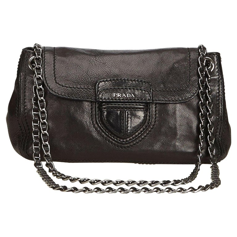 5c81f18292d8 Prada Black Leather Flap Chain Shoulder Bag at 1stdibs