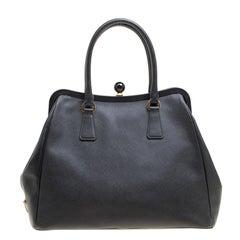 Prada Black Leather Frame Satchel