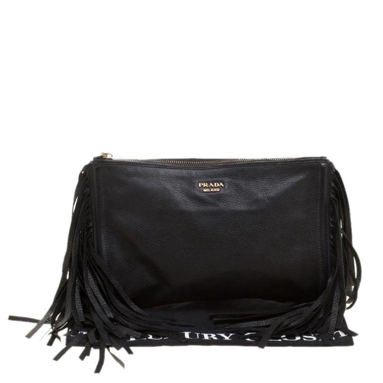 Prada Black Leather Fringe Clutch For Sale 7