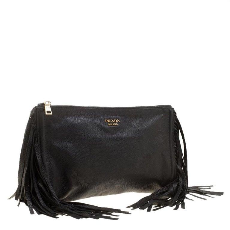 Women's Prada Black Leather Fringe Clutch For Sale