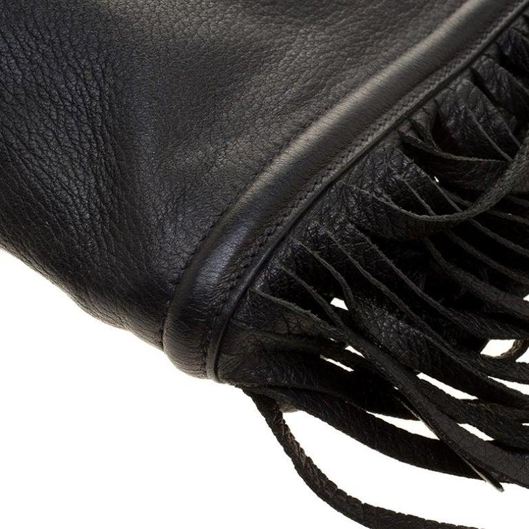 Prada Black Leather Fringe Clutch For Sale 1