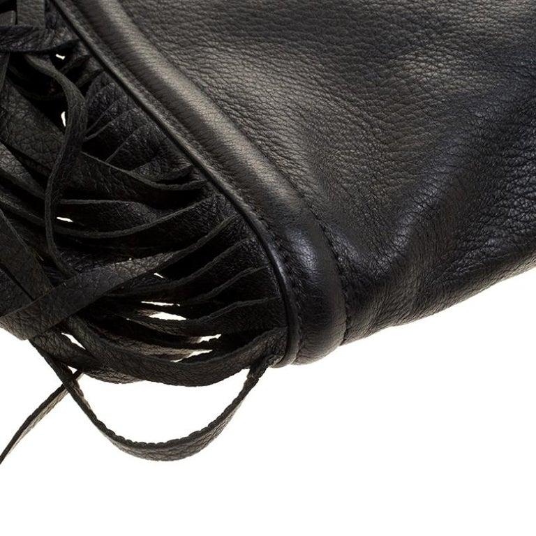 Prada Black Leather Fringe Clutch For Sale 2