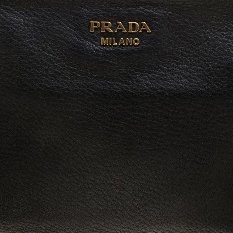 Prada Black Leather Fringe Clutch For Sale 4