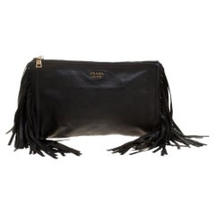 Prada Black Leather Fringe Clutch