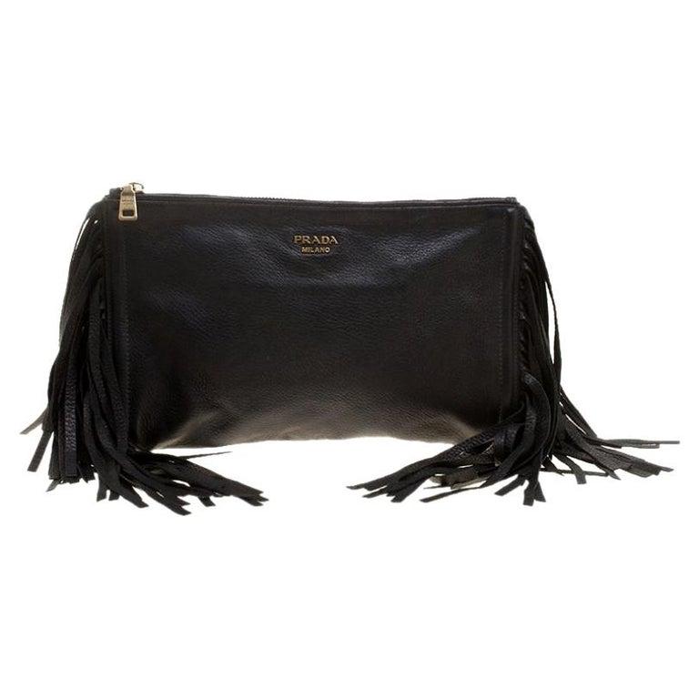 Prada Black Leather Fringe Clutch For Sale