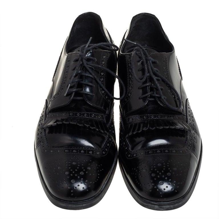 Prada Black Leather Fringe Detail Lace Up Derby Size 42 For Sale 1