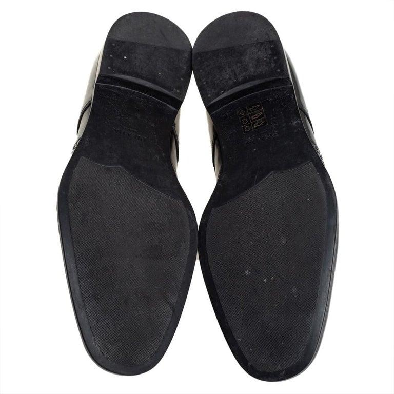 Prada Black Leather Fringe Detail Lace Up Derby Size 42 For Sale 3