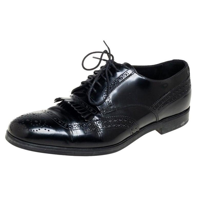 Prada Black Leather Fringe Detail Lace Up Derby Size 42 For Sale