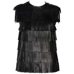 Prada Black Leather Fringe Sleeveless Top Spring 2007