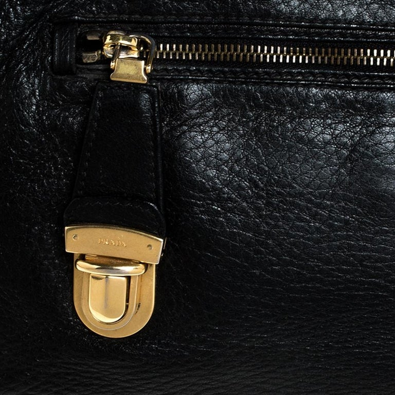 Prada Black Leather Front Pushlock Tote For Sale 6