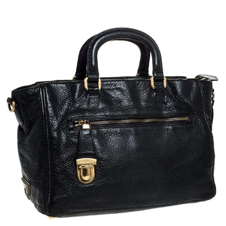 Women's Prada Black Leather Front Pushlock Tote For Sale