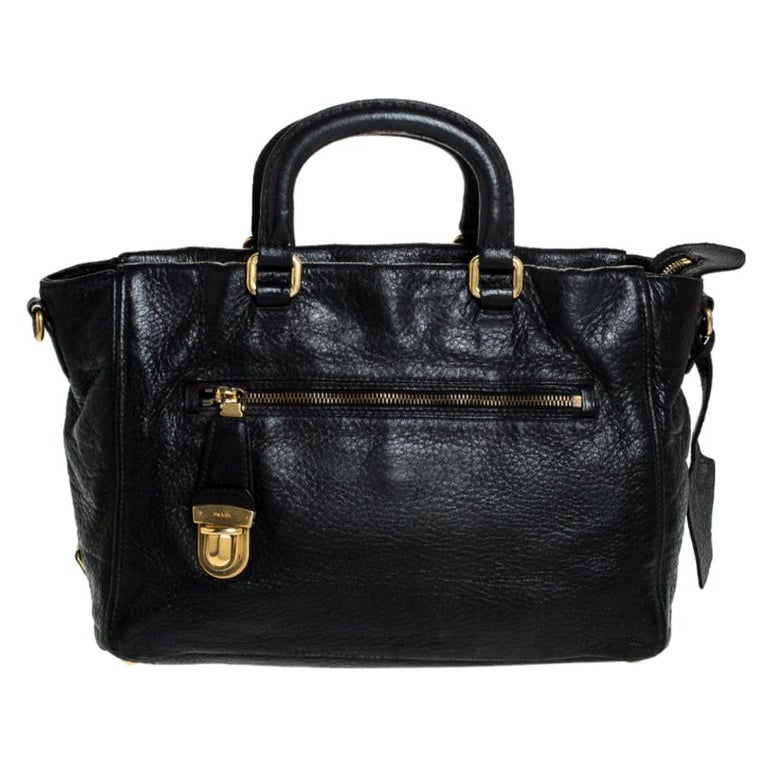 Prada Black Leather Front Pushlock Tote For Sale