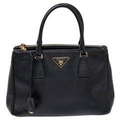 Prada Black Leather Galleria Double Zip Tote