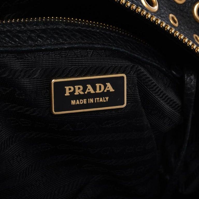 Prada Black Leather Grommet Bauletto Bag For Sale 6