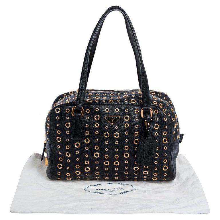 Prada Black Leather Grommet Bauletto Bag For Sale 7