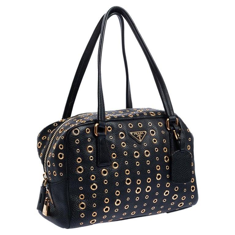 Women's Prada Black Leather Grommet Bauletto Bag For Sale