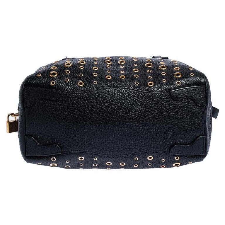Prada Black Leather Grommet Bauletto Bag For Sale 1