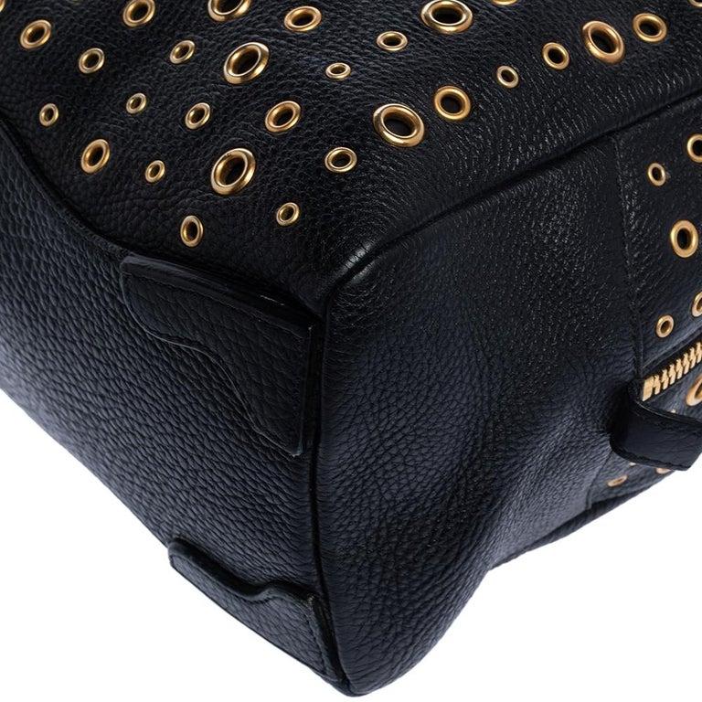 Prada Black Leather Grommet Bauletto Bag For Sale 2