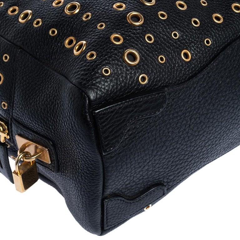 Prada Black Leather Grommet Bauletto Bag For Sale 3