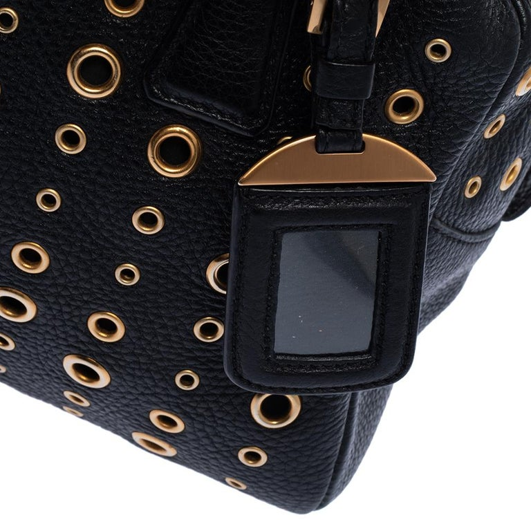 Prada Black Leather Grommet Bauletto Bag For Sale 4