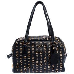 Prada Black Leather Grommet Bauletto Bag