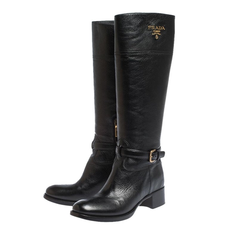 Prada Black Leather Knee Length Buckle Strap Boots Size 40 For Sale 1