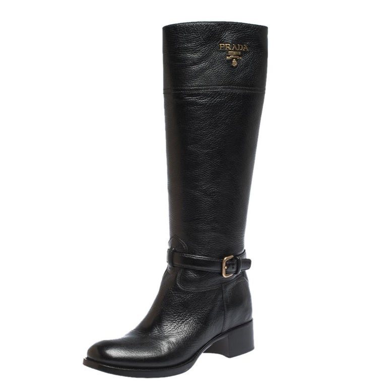 Prada Black Leather Knee Length Buckle Strap Boots Size 40 For Sale 2
