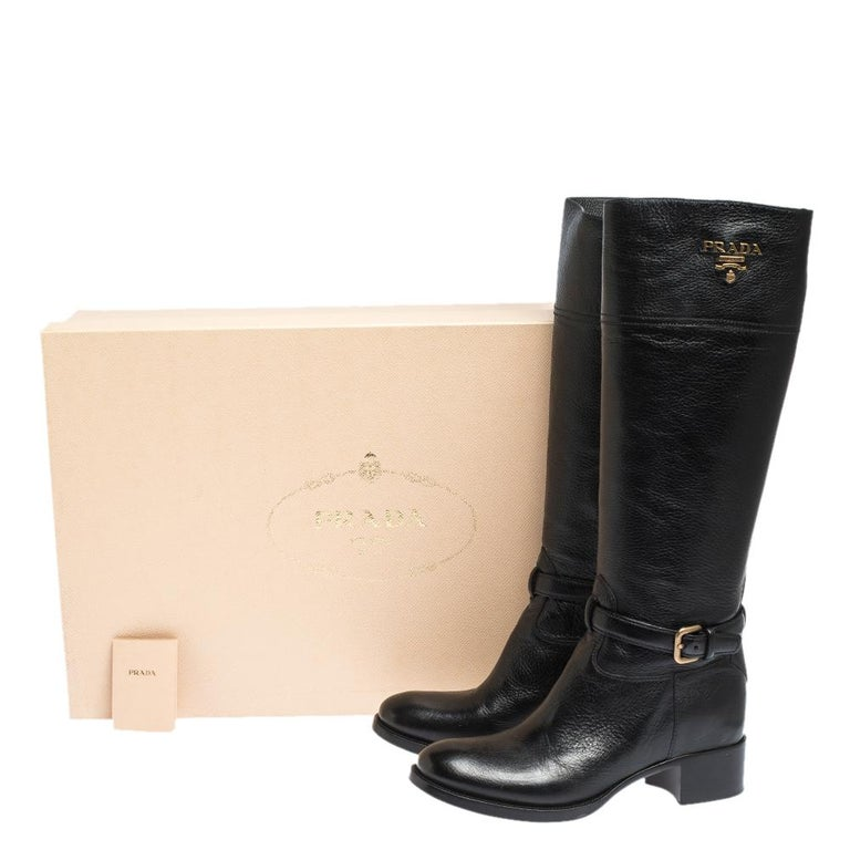 Prada Black Leather Knee Length Buckle Strap Boots Size 40 For Sale 4