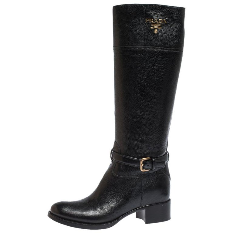 Prada Black Leather Knee Length Buckle Strap Boots Size 40 For Sale