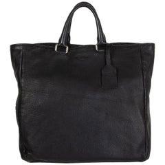 PRADA black leather LARGE CERVO TOTE Bag