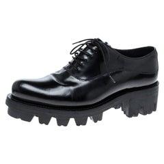 Prada Black Leather Lug-Sole Platform Oxfords Size 37.5