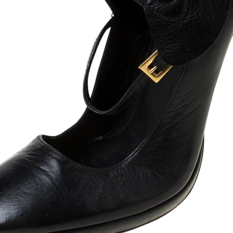 Prada Black Leather Mary Jane Ankle Boots Size 37 For Sale 1