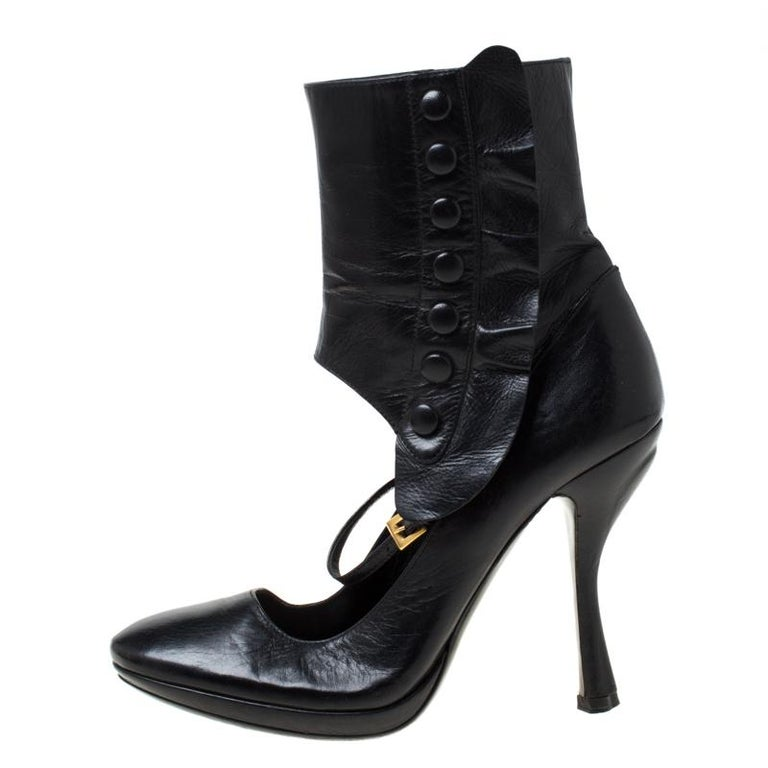 Prada Black Leather Mary Jane Ankle Boots Size 37 For Sale 2