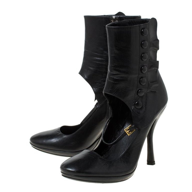 Prada Black Leather Mary Jane Ankle Boots Size 37 For Sale 3