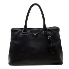 Prada Black Leather Medium Tote Bag