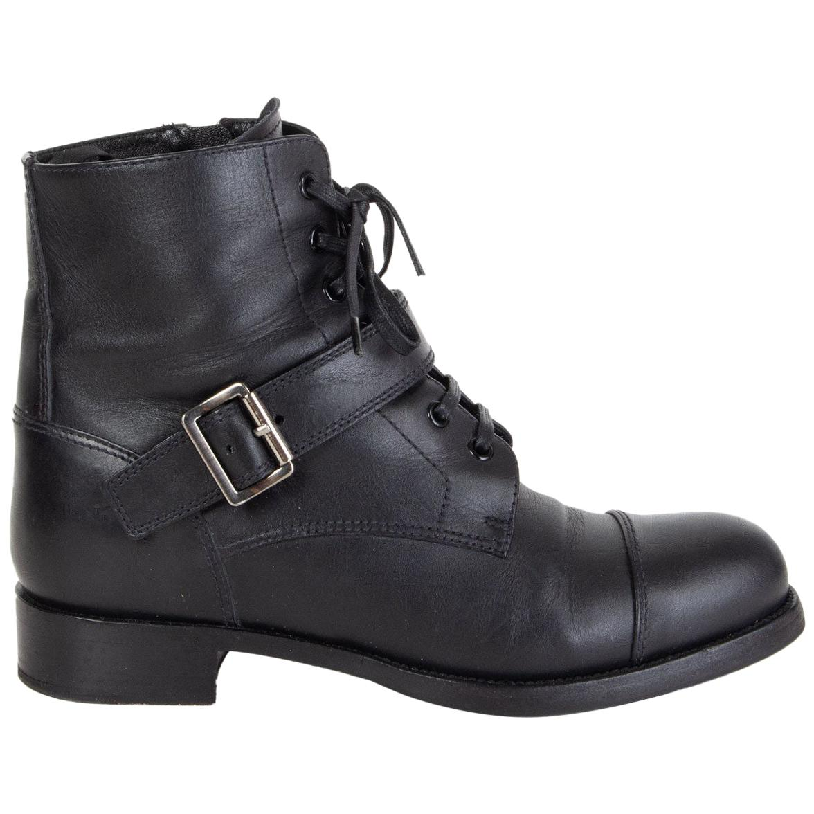PRADA black leather Monk Strap Lace-up Ankle Boots Shoes 38.5