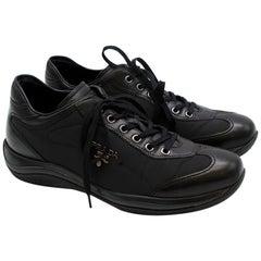 Prada Black Leather Nylon Low-Top Sneakers 37