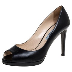 Prada Black Leather Peep Toe Pumps Size 37