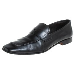 Prada Black Leather Penny Sip On Loafers Size 43