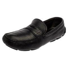 Prada Black Leather Penny Slip On Loafers Size 45
